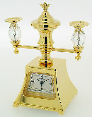 Novelty Miniature Candle Stand Clock in Gold Tone on Solid Brass and Swarovski
