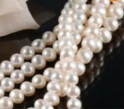 """Wholesale 5 Strands 7-8MM Akoya White Freshwater Cultured Pearl Loose Beads 15"""""""