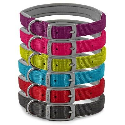 Ancol Padded Nylon Collar & Lead - Pink (Raspberry) Blue Red Black Collars Leads