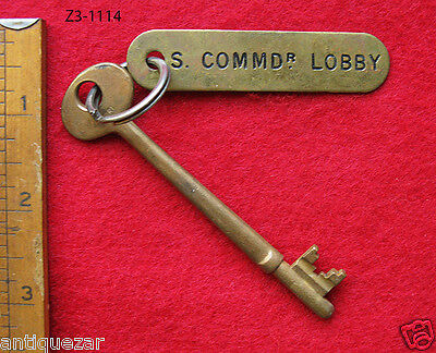 "Rare Genuine ""Commanders Lobby"" Tag Antique Ship Skeleton Key Navy Nautical Old"