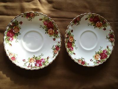 Two Royal Albert saucers with Old Country Roses pattern, in very good condition
