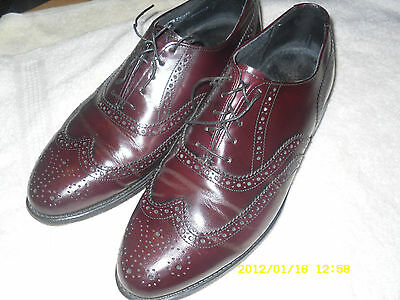 Hanover Mens 9 E/C Brown Wing tip Lace up Pre-owned All Leather except insole