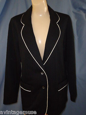 BLACK w/ WHITE TRIM BLAZER VTG SUIT Jacket WOMENS M/L 10/11 GRAFF Holiday NWOT