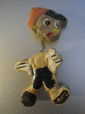 VINTAGE WOOD,HAND PAINTED PINOCCHIO BOBBLE HEAD BROOCH/PIN PUPPET MARIONETTE