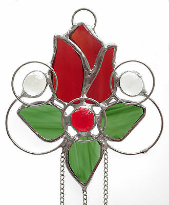 Beautiful Handcrafted Stained Glass Rosebud Floral Suncatcher