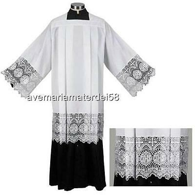 "Catholic Box Pleated Surplice with IHS 9"" Inch Lace Polyester Size:  SMALL"