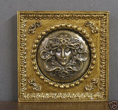 FRAMED ANTIQUED  BRASS  3D  PICTURE -- Dollhouse Miniature ~ 1:12 scale