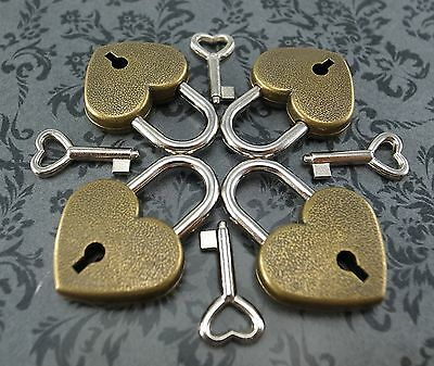Antique Vintage Style Small Padlock Key Locks -  ANTIQUE BRASS COLOR(Lot of 4)