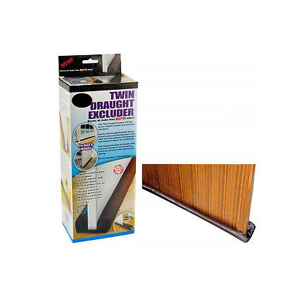 Twin DRAFT STOPPER Double Sided Draught Excluder Window Door Guard Cover New