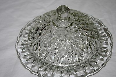 VINTAGE GLASS BUTTER DISH WITH DOME LID BEAUTIFUL!!