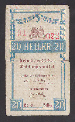 CZECHOSLOVAKIA  20 Heller ND1917 w/ser.No.WWI  Concentration Camp THERESIENSTADT
