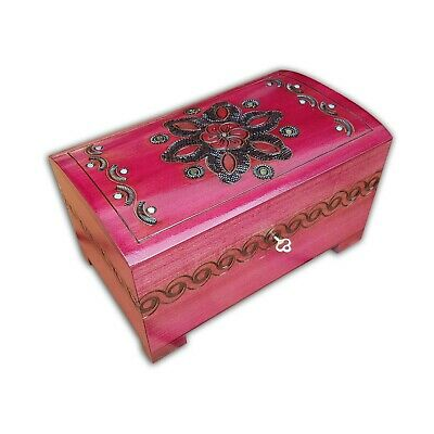 Wooden Large Jewellery Chest In Pink Color Lock And Key, Model 2