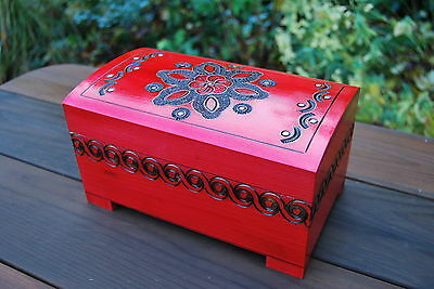 Wooden Large Red Jewellery Chest Lock And Key In Red Color