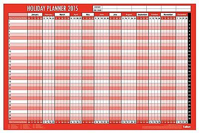 2015 Staff Holiday Wall Planner Laminated Pen Coloured dots Unmounted Large 3808