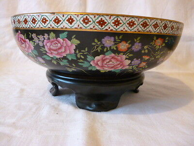 Antique Cetem Early Maling Floral Decorated Bowl on Original Stand