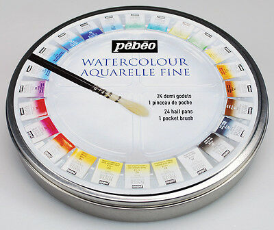 Pebeo Artist Painting Water Colour Aquarelle Fine 24 Half Pan [Round Metal Tin]