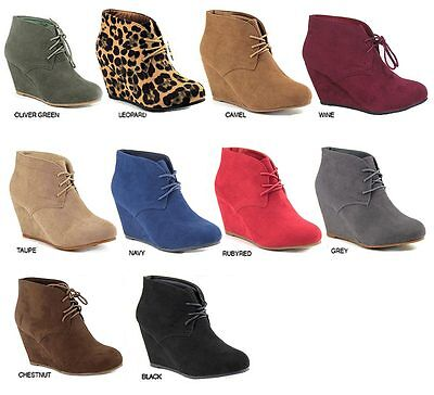 New Womens Suede Round Toe Lace Up Booties Shoes High Heels Ankle Boots Wedges