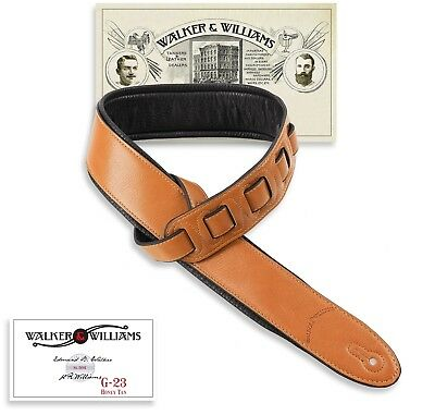 Walker & Williams G-23 Honey Tan Padded Guitar Strap Soft Glove Leather Back