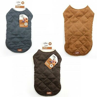 All For Paws AFP Lamb Diamond Stitch Dog Puppy Fur And Suede Jacket Coat
