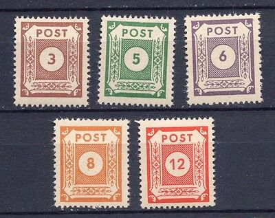 1945 Germany Russian Zone E. Saxony Numeral Set Perf. (SG RE16/20) MNH