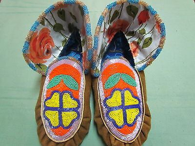 "Native American Full Bead Moose Hide 9"" Inches Long Beautiful Beaded Moccasins"