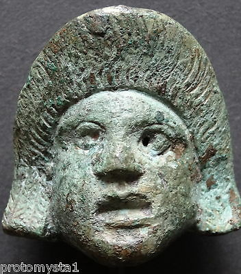 Nice Gallo-Roman Bronze Tragedy-Comedy Theatre Mask 1St-2Nd Ad- 4.1Cm- 1.6 Inch