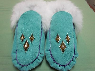 Native Beaded Aquamarine Moccasins 9 Inches Long With White Fur Top-Line