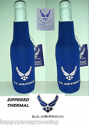 2 - OFFICIAL US AIR FORCE Wings Beer Soda Water BOTTLE JACKET Wrap Cooler KOOZIE