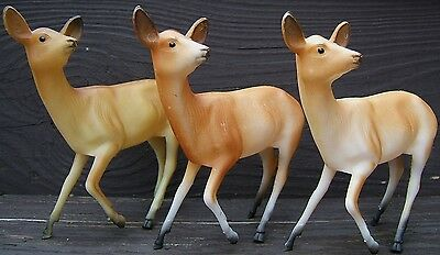 Vintage Celluloid Reindeer Three Holiday Deer Figures Standing 4 3/4 inches tall