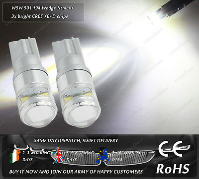 Cree LED W5W T10 501 Wedge Xenon White Sidelights Parking Marker Light Bulbs