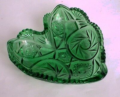 Candy Dish EAPG  Heart Shaped  Green Glass