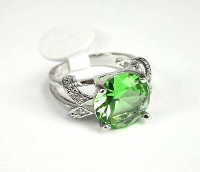 R#5516 simulated Green & White Topaz Gemstone ladies silver ring size 9.25