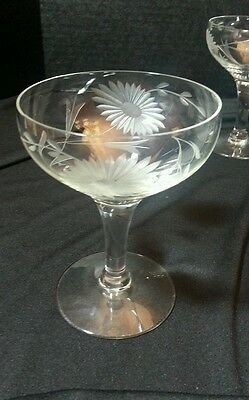 5 etched saucer champagne(s), sherbet(s) daisy or sunflower