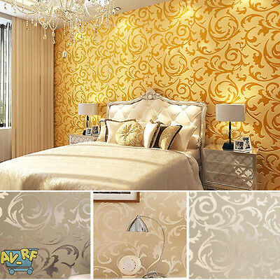 10m 3D Modern Non-woven Flocking Damask Embossed Wallpaper Wall Paper Rolls Home