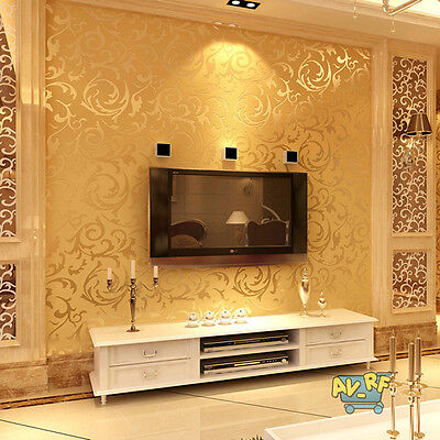 10m 3D Modern Non-woven Flocking Damask Embossed Wallpaper Wall Paper Rolls Gold