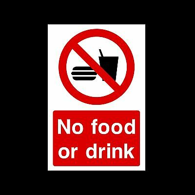 No Food or Drink Sign, Sticker - All Sizes A6, A5, A4 & Materials - (MISC92)