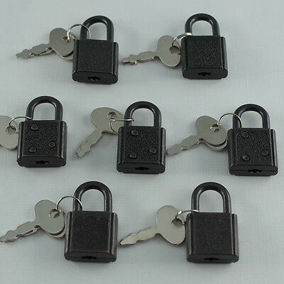 Old Vintage Antique SMALL  Padlock Mini Black Tiny Box Locks With keys(Lot of 7)