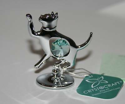 Crystocraft CAT Standing Ornament with Strass Swarovski Crystal Elements