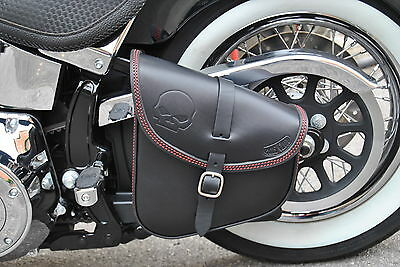 Saddle Bag Swing Arm Bag  For Harley Davidson Softail  Italian Leather Quality