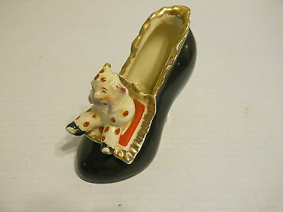 """Vintage 4"""" x 4"""" Ceramic Shoe With Clown on Toe -  Made in Japan"""