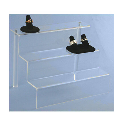 2 Clear Acrylic Display 3 Step Riser - Countertop Stair Units