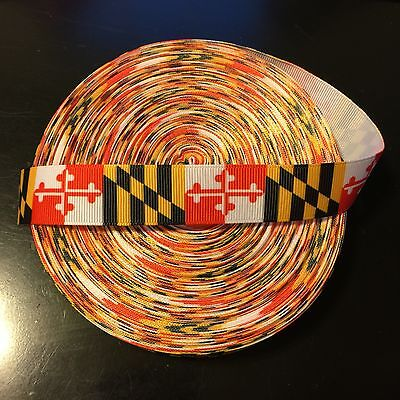 "7/8"" Maryland Flag Terrapins Terps Grosgrain Ribbon by the Yard (USA SELLER!)"