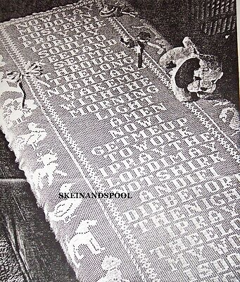 """PC 2805 Vintage Filet """"NOW I LAY ME..' CRIB COVER Pattern to Crochet (Reprint)"""