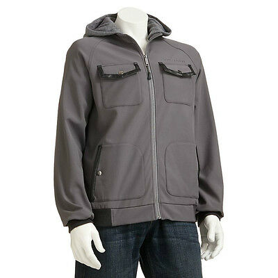 Urban Republic Men Faux-Leather-Trim Softshell Hooded Bomber Jacket Gray L $120