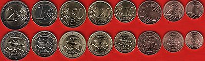 Lithuania euro full set (8 coins): 1 cent - 2 euro 2015 UNC