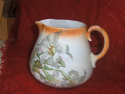 Antique Transfer print ironstone pitcher, White Lilies, National China Co, USA