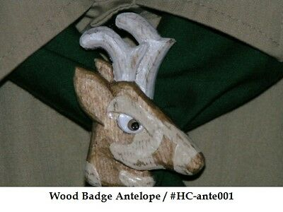 Hand Carved Wood Badge Antelope Neckerchief Slide
