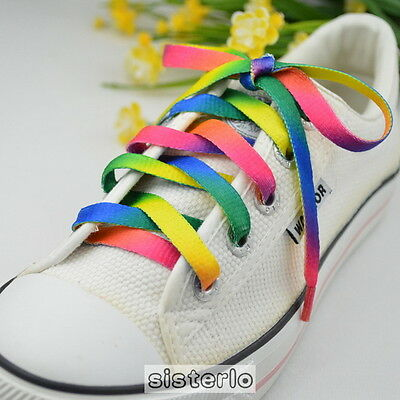 Rainbow Athletic Sports Sneaker Shoelaces Flat Bootlaces Shoelace String LaceBSC