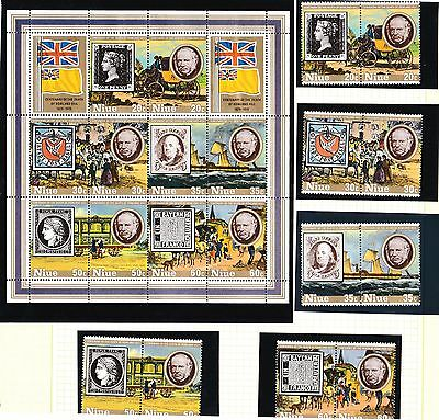 Niue 1979 Rowland Hill Centenary - Stamps & Transport Set of 10 + Minisheet MNH