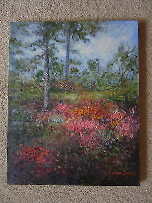 VINTAGE garden floral landscape original hand painted oil PAINTING by DENTON